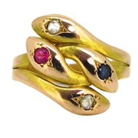 Antique Victorian Diamonds, Ruby and Sapphire Double Snake Ring, 18kt yellow and rose gold, circa 1880