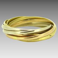 Vintage 7 bands ring by Cartier, 18kt 3 golds, FRANCE, circa 1940