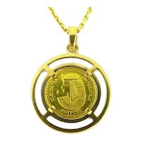 Vintage Hatschesput and Cleopatra Coin Pendant, 18kt and 24kt yellow gold, France