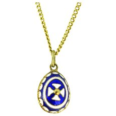 Russian Style Blue White Enamel Templar Cross Silver Gilt Egg Pendant