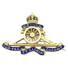 Badge of the Royal Regiment of Artillery, 15kt gold