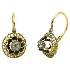 Antique Early Victorian Rose cut Diamonds Dormeuses Earrings, 18kt rose gold and silver, circa 1850