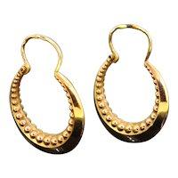 Vintage Yellow Gold Beaded Creoles Hoop Earrings, France, circa 1960