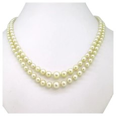 Vintage 2 rows Cultured Pearls Necklace 18kt yellow Gold Clasp, by Baracco, France