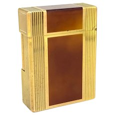 Vintage Laque de Chine Light Brown Gold Plated Lighter by Dupont, France, circa 1975