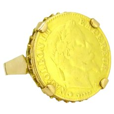 Vintage Retro Napoleon III Coin Sovereign Ring, 18kt Yellow Gold circa 1950
