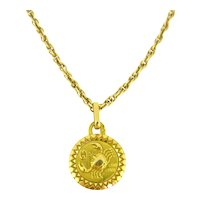 Vintage Cancer Zodiac Pendant by Perroud, 18kt Yellow Gold, circa 1960