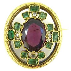 Antique Victorian Garnet, Emeralds and Diamonds Brooch, 18kt Yellow Gold Brooch, circa 1880, France