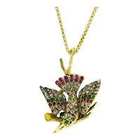 Antique Victorian Emerald, Ruby and Rose cut Diamonds Bird on a branch pendant, 18kt yellow gold, circa 1890, Austria