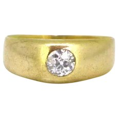 Vintage Old European cut Diamond Gypsy Ring, 18kt yellow Gold, circa 1930