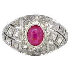 Antique Belle Epoque Ruby Cabochon Diamonds Bombe Ring,  Platinum, France, circa 1910