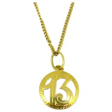 Vintage13 Lucky Pendant Charm 18kt Yellow Gold