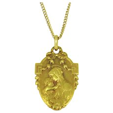 Antique Art Nouveau Virgin and Child Religious Medal, by Karo, 18kt yellow gold, France, circa 1900