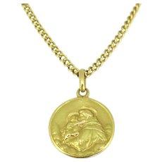 Vintage Religious St Antoine Medal Pendant, 18kt yellow gold