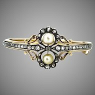 Antique Bangle, Fine pearls and diamonds, 18kt gold and silver, c.1900
