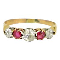 Antique Victorian Five Stones Garnets and Diamonds Ring, 18kt yellow gold, circa 1880