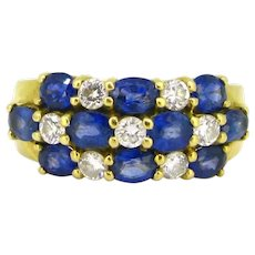Sapphires and Diamond Yellow Gold Band Ring, 18kt yellow gold, France