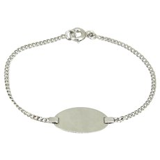 Vintage Engravable Plain Link Chain Baby Bracelet, 18kt white gold, France