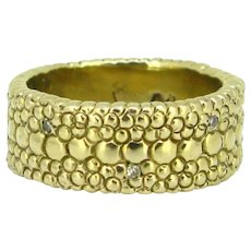 Vintage Diamonds Textured Gold Band Ring, 18kt yellow gold, circa 1960