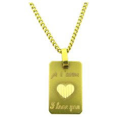 Vintage Je t'aime Heart Love Pendant, 18k yellow gold, France