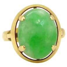 Vintage Jade Cabochon Ring, 18kt yellow gold, circa 1960