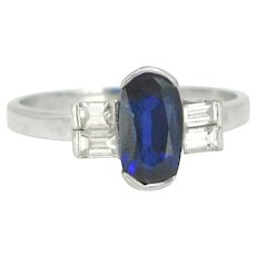 Vintage Sapphire and Diamonds Ring, 18kt white Gold, circa 1940