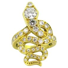 Vintage Diamonds Snake ring, 18kt yellow gold, France, circa 1950