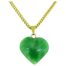 Jade Jadeite Heart shape Pendant, 18k Yellow Gold