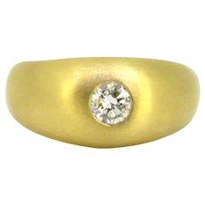 Vintage Brilliant cut Diamond Gypsy Ring, 18kt yellow brushed Gold, circa 1930