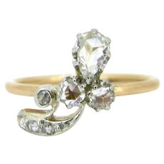 Edwardian Trefoil diamonds ring, 18kt gold and platinum, circa 1910