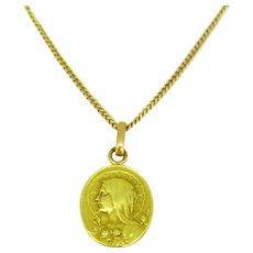 Antique Art Nouveau Virgin Mary Religious Medal, France, circa 1900