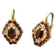 Vintage Garnets earrings, 18kt yellow gold