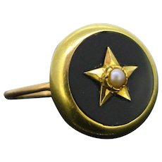 Antique Victorian Onyx Star ring, 18kt gold, FRANCE