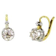 Antique Diamonds Dormeuses Earrings, France, 18kt Gold and platinum