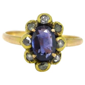 Antique Colour change Sapphire and diamonds ring, early 19th century