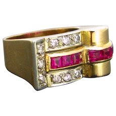 Retro French Tank Ring, 18kt gold and platinum, circa 1940