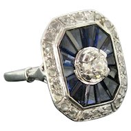 Vintage Diamond and Sapphire Ring, 18kt White Gold and Platinum, circa 1940