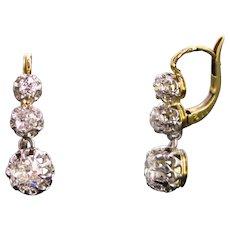 Antique Diamonds Dormeuses earrings, early 20th century