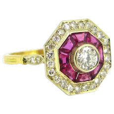 Vintage French Octagonal Diamonds & Ruby Ring, 18kt gold