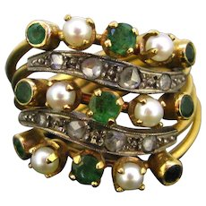 Vintage Multi bands Emeralds and Pearls Ring, 18kt gold