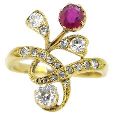 Art Nouveau Diamonds & Ruby Flower Ring, 18kt yellow gold, circa 1905