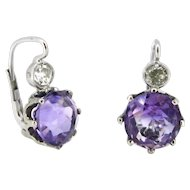 Vintage Amethyst and Diamonds Earrings Dormeuses, 18kt gold, France