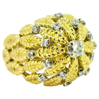 Vintage French Diamonds Bombe Leaves Ring, 18kt gold and platinum