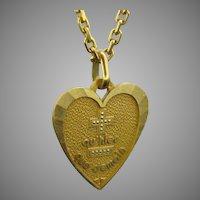 """French Vintage """"Plus qu'hier moins que demain"""" Augis Medal Heart Shape Pendant"""