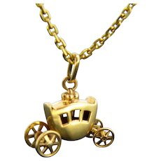 Vintage Carriage Pendant Charm, 18kt Yellow Gold, France