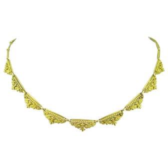 Antique Art Nouveau Flowery Necklace, 18kt gold, France, circa 1900