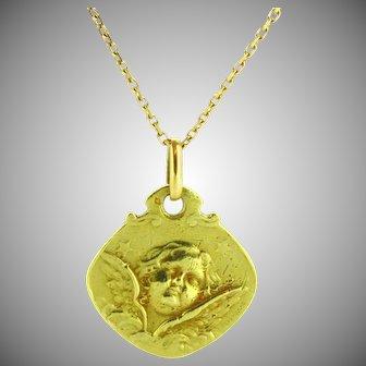 Antique Art Nouveau Cherub Medal Pendant by G Prud'Homme, 18kt gold, France circa 1905