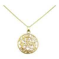 Early 20th century Initials Letter cut our pendant, 18kt gold, Art Nouveau