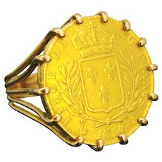 Vintage 20 Francs Gold Coin Ring, 18kt and 21kt gold, France, circa 1920