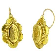 Antique Victorian Dormeuses Earrings, 18kt gold, France
